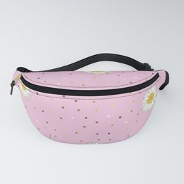 Daisy Flower seamless White and Yellow pattern and Gold Confetti on Pastel Pink Background Fanny Pack