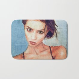 Painted Portrait Of A Beautiful Young Woman Bath Mat