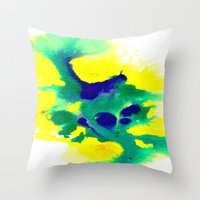 brazil Throw Pillows featuring WATERCOLOR BRAZIL by Chrisb Marquez