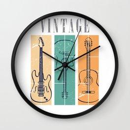 Guitar Vintage Color Wall Clock