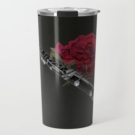 Black White Clarinet Red Rose Musical Instrument Wall Art A506 Travel Mug