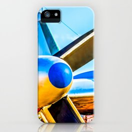 Twin propellers of a vintage aircraft iPhone Case