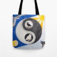 yin yang Tote Bags featuring  Yin & Yang  by Owl Art Suri