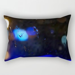 An abstract background with night lights and raindrops. Rectangular Pillow