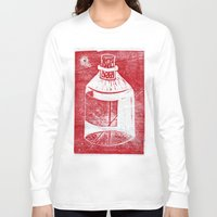 whisky Long Sleeve T-shirts featuring Ol' Whisky Bottle by Shane Haarer