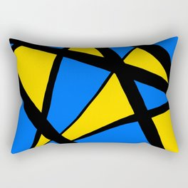 Yellow and Blue Triangles Abstract Rectangular Pillow