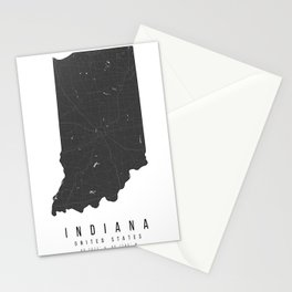 Indiana Mono Black and White Modern Minimal Street Map Stationery Cards
