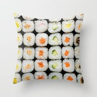 sushi Throw Pillows featuring Sushi by Katieb1013