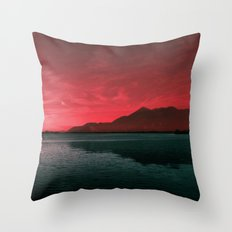 RED SKY OVER LAKE Throw Pillow