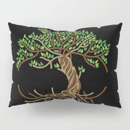 Rope Tree of Life. Rope Dojo 2017 black background Pillow Sham