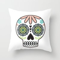 sugar skull Throw Pillows featuring Sugar Skull by Liz Urso