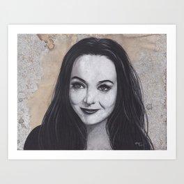 Original Charcoal Drawing of Morticia Addams Art Print