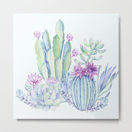 Mixed Cacti Light Blue #society6 #buyart Metal Print
