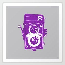 Big Vintage Camera Love - Purple on Grey Background Art Print