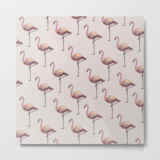 Flamingo and Sloth Metal Print