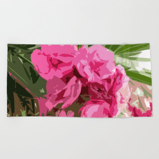 Summer oleander Beach Towel