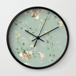 Sweet pea botanical pattern in green Wall Clock