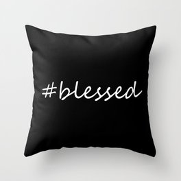 #blessed black and white Throw Pillow