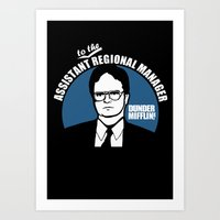 dwight schrute Art Prints featuring Dwight Schrute logo by Buby87