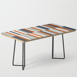 Orange, Navy Blue, Gray / Grey Stripes, Abstract Nautical Maritime Design by Coffee Table