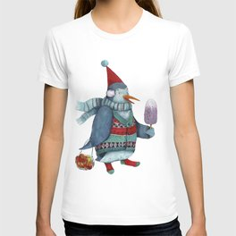 Penguin in a cap and a colorful sweater with ice cream and oranges in a string bag T-shirt