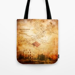 Allentown, New Jersey Map and Mill by Ericka O'Rourke Tote Bag