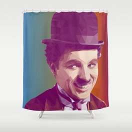 Charles Chaplin Low Poly Collection Shower Curtain