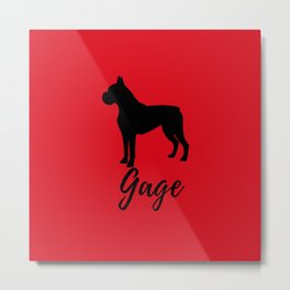 Gage Red Boxer Metal Print