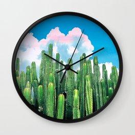 Cactus Summer #nature #digitalart Wall Clock