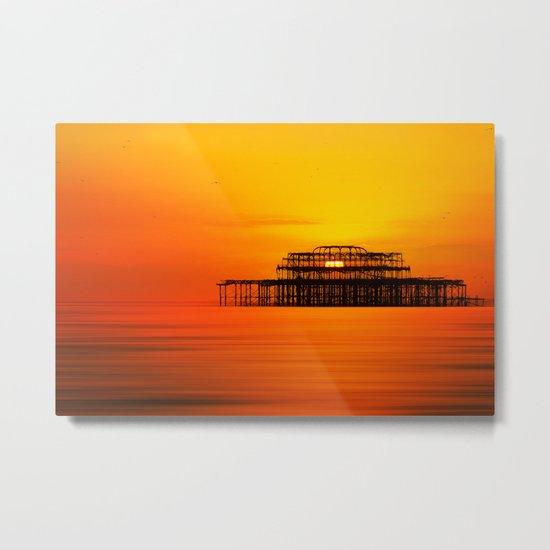 Brighton West Pier at Sunset Metal Print