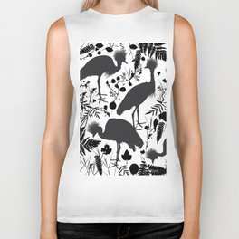 Black crowned crane with grass and flowers black silhouette Biker Tank