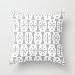 Mid Century Modern Atomic Fusion Pattern Grey Throw Pillow