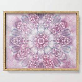 Dreams Mandala in Pink, Grey, Purple and White Serving Tray