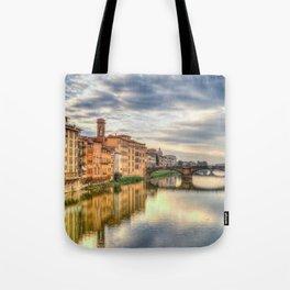 Arno River and Ponte Vecchio, Florence Tote Bag