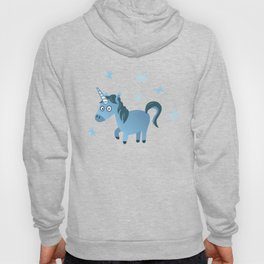 Blue unicorn illustration, Lost in stars Hoody