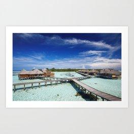 Maldives bridges bungalows tropics sea Art Print