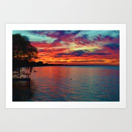 Sunset on Lake St. Clair in Belle River, Ontario, Canada Art Print