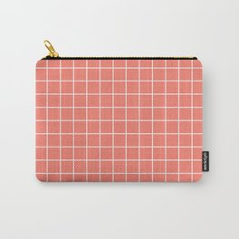 Salmon - pnk color - White Lines Grid Pattern Carry-All Pouch
