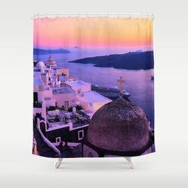 Gorgeous sunset in Santorini Shower Curtain