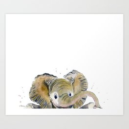 Hello,Anybody At Home? - Baby Elephant Art Print