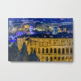 Night Scene Rome Cityscape Aerial View Metal Print