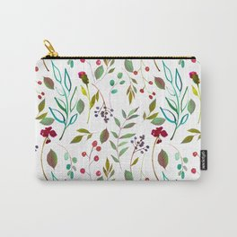 autumn winter berries watercolor pattern Carry-All Pouch