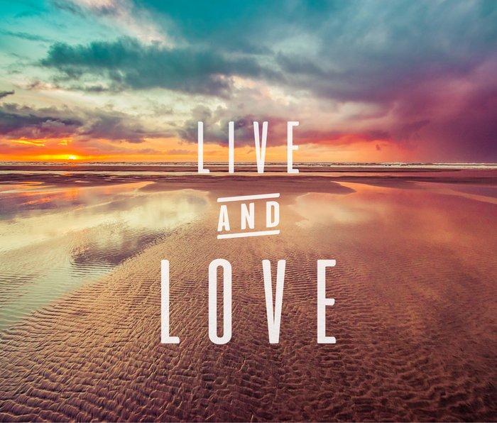 Live and Love beach text Metal Travel Mug