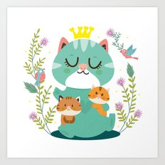 Queen cat Art Print