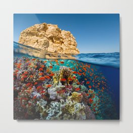 Island Sea Underwater Metal Print