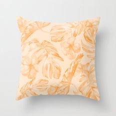 Island Vacation Hibiscus Palm Leaf Orange Throw Pillow