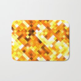 Golden Yellow Bright Squares Pattern Bath Mat