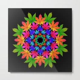 Cannabis Indica Leaf Mandala Metal Print