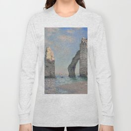 The Rock Needle and the Porte d'Aval by Claude Monet Long Sleeve T-shirt