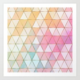Pastel Triangles with Golden Lines Art Print